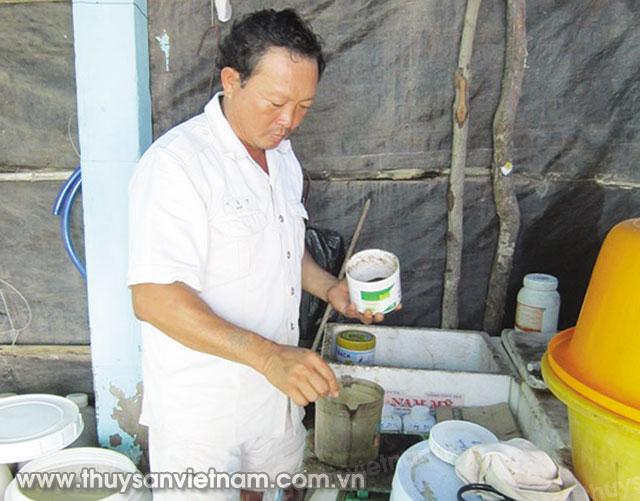 Ông Phạm Thái Hòa chuẩn bị thức ăn cho tôm   Ảnh: KT